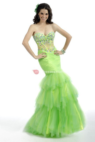trumpet/mermaid sweetheart floor lime ruffles beading tulle