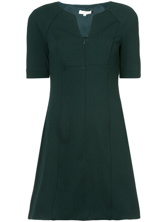 dress zip women spandex green