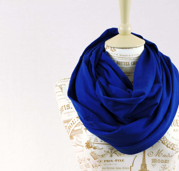 SALE Doctor Who Infinity Scarf Tardis Blue Jersey 10th Loop Circle Cobalt Royal Womens Fashion