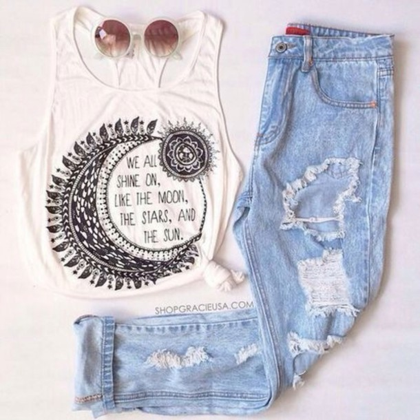 t-shirt white t-shirt moon lune black top tank top quote on it top white tank top jeans hippie white top bohemian style outfit love quote on it sunglasses