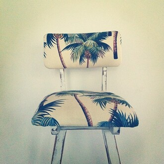 chaise home decor palm tree print chair beach house