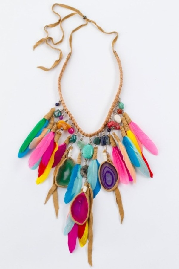 jewels boho feathers necklace