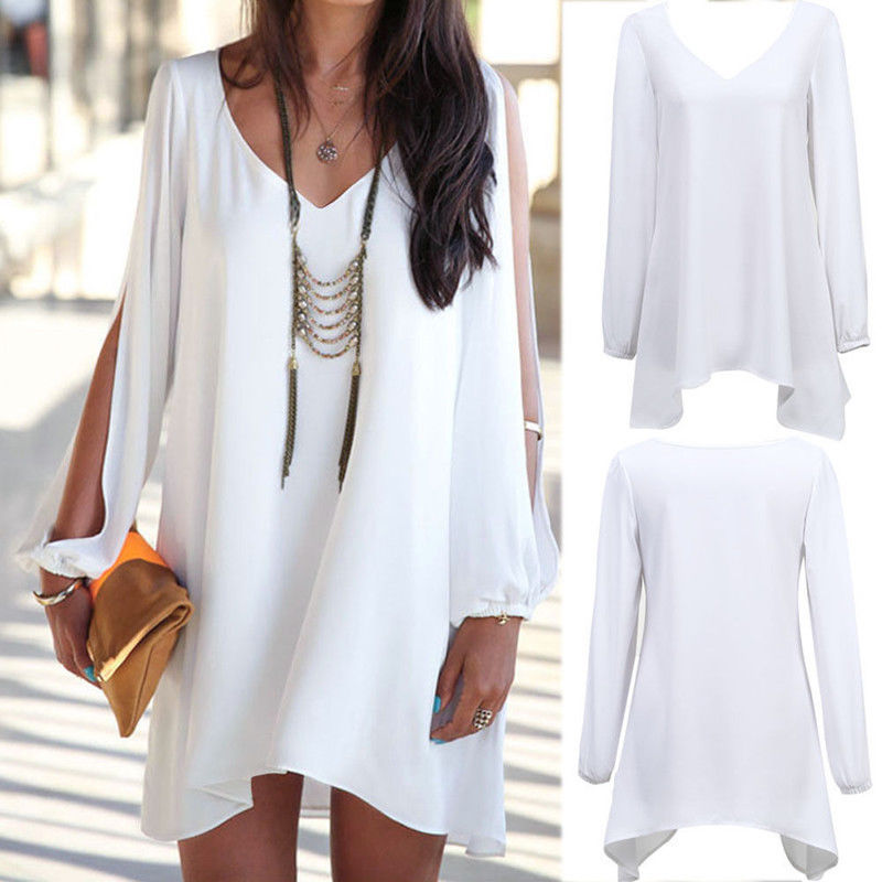 Chic Women V Neck Split Long Sleeve Mini Dress Chiffon Beach BOHO TOPS Shirt