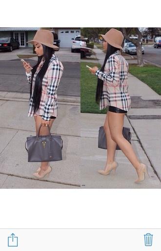 shoes nude high heels nude plaid plaid top bucket hat purse hat faux suede beige vue boutique