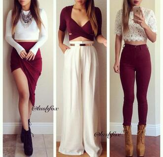 jeans burgundy colorful boots heels maxi skirt clothes outfit tumblr tumblr outfit tumblr girl tumblr clothes pintrest trendy girly hipster chic perfecto flawless on fleek blouse socks skirt pants red skirt red crop top white skirt white crop tops black booties brown boots shirt burgundy skirt cute skirt top cute fashionista style fashion lace top shoes dress white