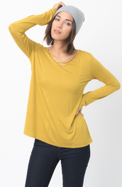 top,caralase,t-shirt,tees,cross front,jersey tunic,long sleeves