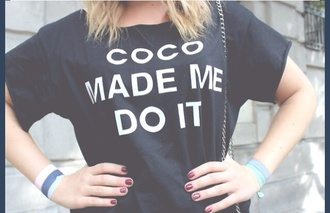t-shirt chanel black coco made me do it chanel t-shirt chanel top