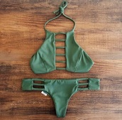 swimwear,classic,green,emerald green,boho,cut out bikini,bikini,khaki,cut-out,matching set,two-piece,separates,olive green,summer,green swimwear,thong swimsuit,halter neck,army green,sexy bikini,brazilian bikini,bikini top,bikini bottoms,low waisted,low waisted bikini,khaki bikini,bathing suit top and bottom,strappy,bathing suit top,bathing suit bottoms,bohemian,cute,hot,tumblr,sexy,beautiful,bandage swimwear,olvie,top,green bikini,open,dark green swim suit,olive green swimwear