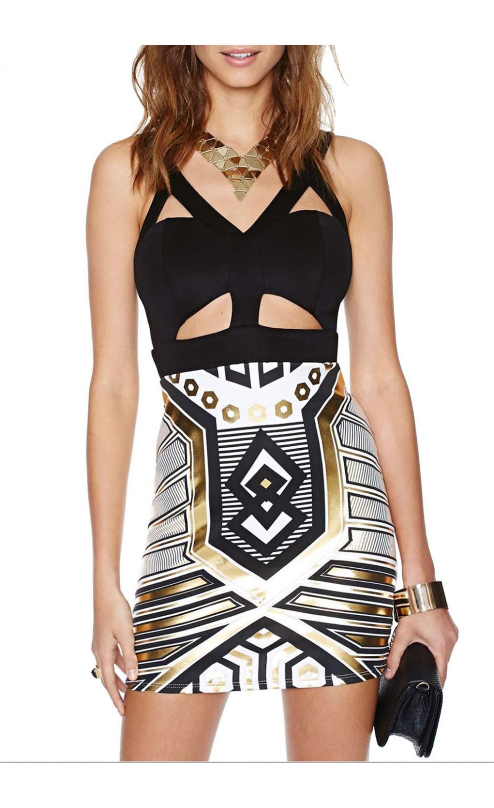 Stylish cutout bodycon dress with metallic print