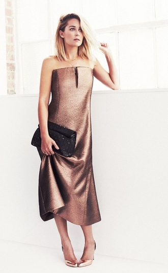 bag dress prom dress shoes lauren conrad coctail dress bronze dress clutch metallic metalic shoes