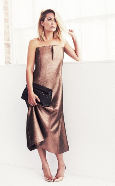 Dress Lauren Conrad Cocktail Dress Prom Dress Bronze Dress