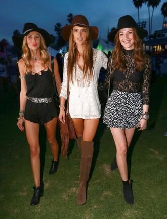 romper hat boho lace boots coachella alessandra ambrosio festival