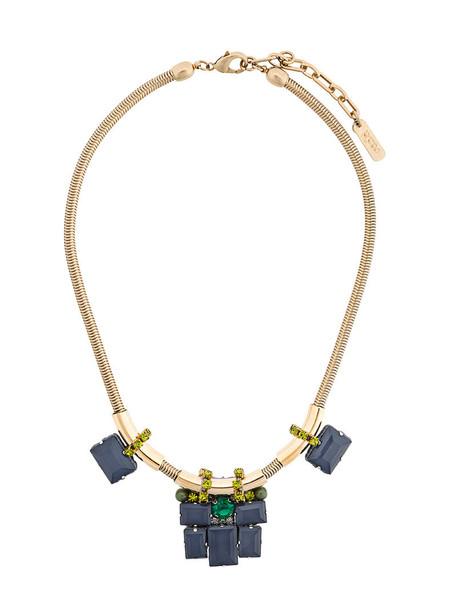 RADÀ women geometric necklace silk grey metallic jewels