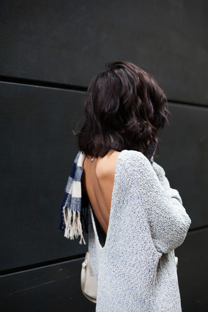 sweater grey grey coy chill sexy cool too sweat style fashion summer top backless sweater