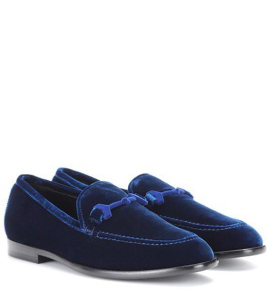 Jimmy Choo loafers velvet blue shoes