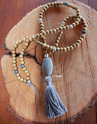 jewels beaded necklace 108 bead mala necklce tassel boho bohemian necklace mala grey for her necklace jewelry moroccan bracelets