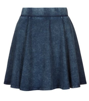Teens Navy Acid Wash Skater Skirt