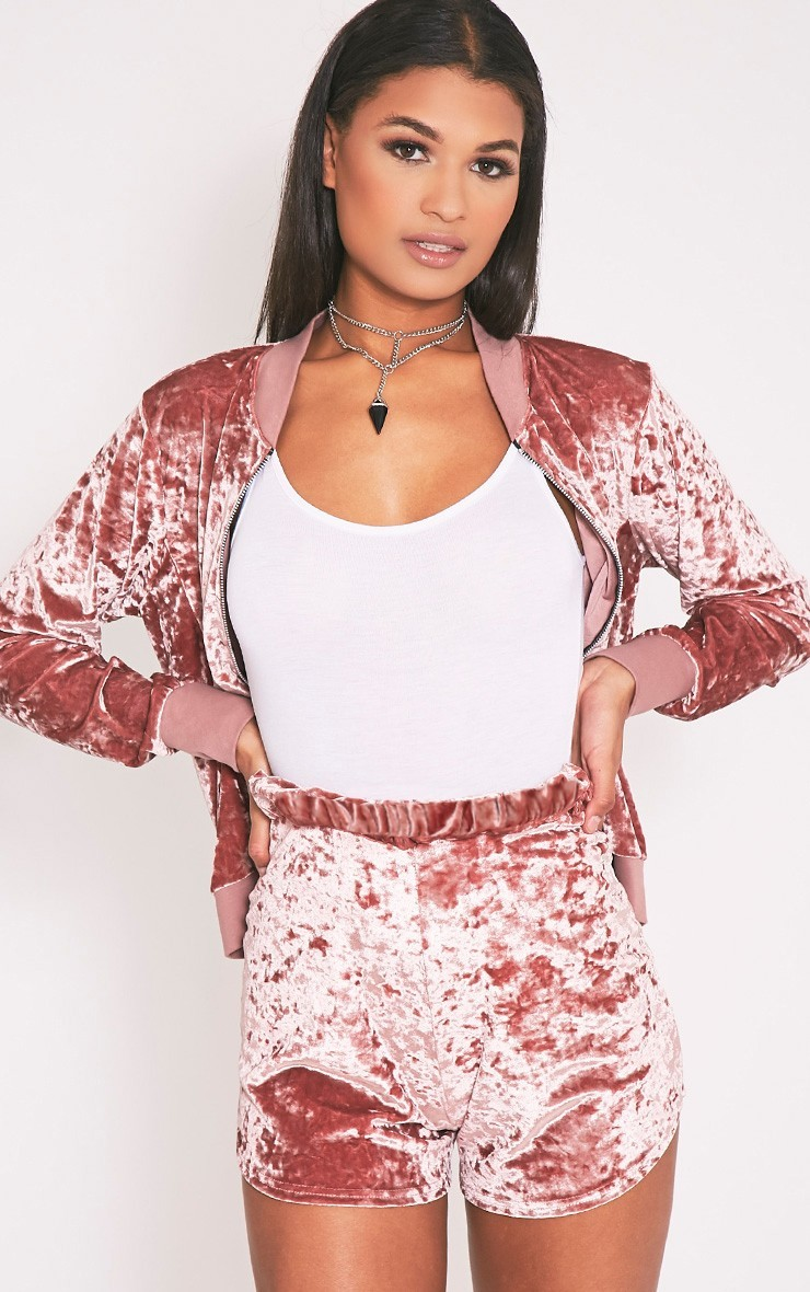 Ayisha Pink Crushed Velvet Runner Shorts c054c6907