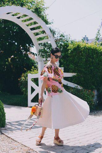 skirt top pink top midi skirt white skirt sandals flat sandals flatforms off the shoulder off the shoulder top bag sunglasses blouse jewels