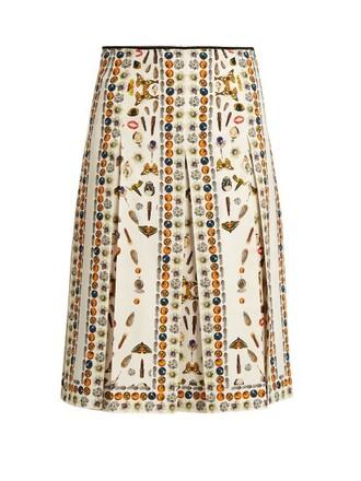 skirt pleated skirt pleated print cream