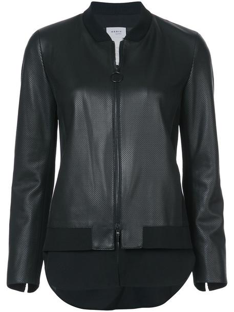 Akris punto jacket bomber jacket women leather black wool