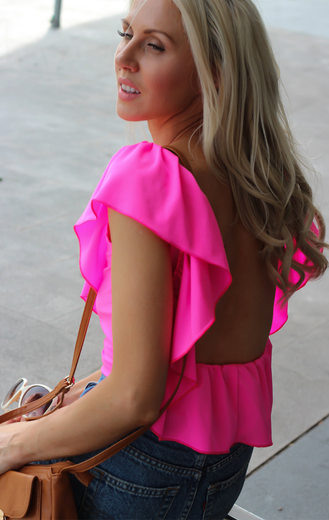 NEON PINK Top/Blouse Low Open Back Ruffle By designer Justyna G