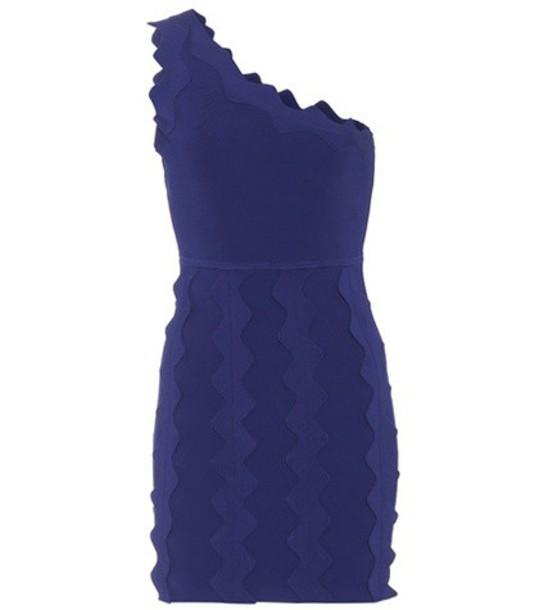 David Koma One-shoulder knit mini dress in blue