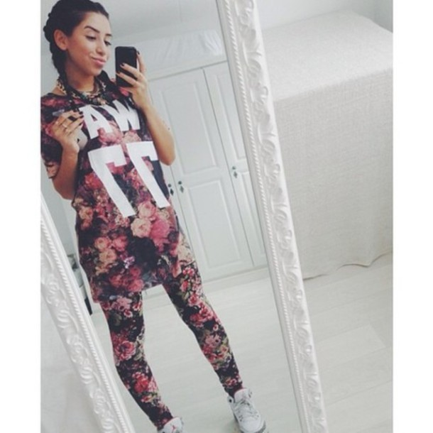 shirt floral selfie air jordan pants