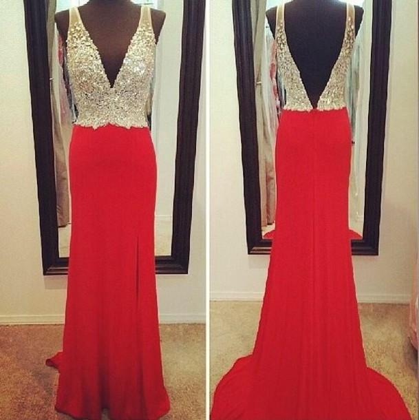 Dress Prom Prom Dress Red Sparkle Elegant Pretty
