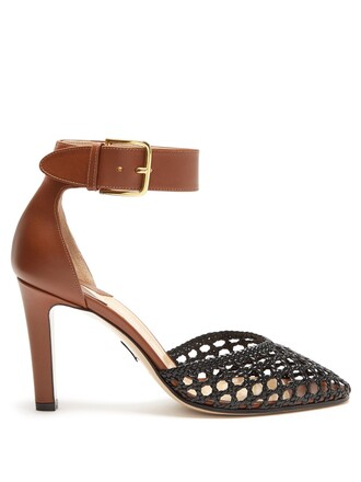 heel pumps leather tan black shoes