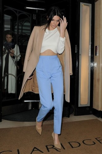 top kylie jenner white beige blue trouser crop tops crop cropped kardashians heels cute dressy kendall jenner long sleeves cut-out white top
