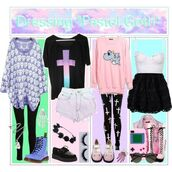 shirt,pastel,pastel goth,punk,tights,leggings,skull,combat boots,cross,clothes,cute,oversized sweater,blouse,jewels,pants,shoes,dress,sweater,dinosaur,t-shirt,kawaii,creepy cute,emo,purple,pastel goth sweater,cute outfits,kawaii accessory