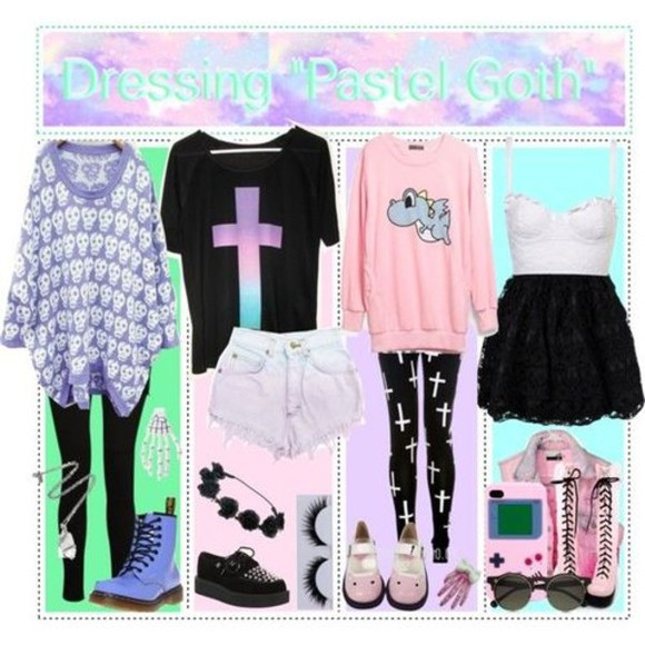 pastel pastel goth kawaii t-shirt creepy cute shoes combat boots cute shirt punk tights leggings skull cross clothes oversized sweater blouse jewels pants sweater dinosaur