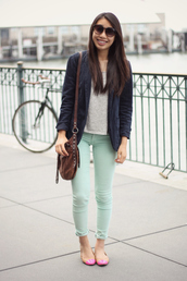 joyful outfits,jeans,jacket,shoes,bag,sunglasses,t-shirt,mint pants