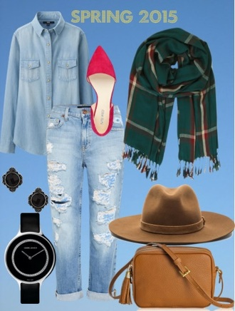 jeans light blue jeans blogger fashion ripped jeans distressed denim hat shoes shirt bag