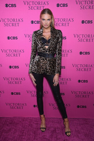jacket animal print sandals romee strijd model fall outfits bra pants victoria's secret victoria's secret model belt underwear blazer