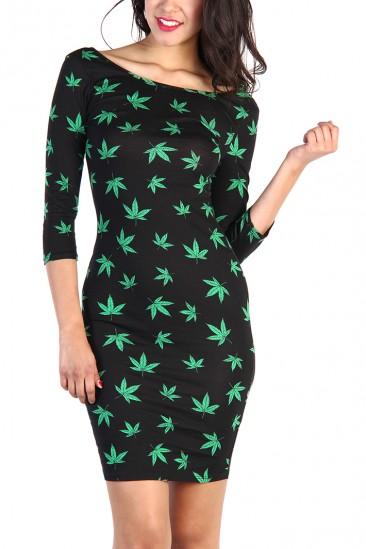LoveMelrose.com From Harry & Molly | Green Leaf Print Dress - Black
