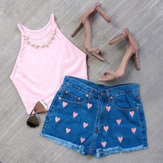 shorts heart denim high waisted gojane embroidered high waisted shorts