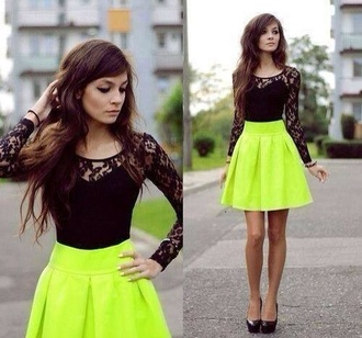 dress short dress neon yellow skirt black lace top gorgeous blouse skirt green skirt bright dressy neon skirt black top black high heels top black lace black lace lace top