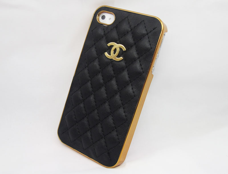 Designer Chanel PU case for Iphone 4/4s (Gold logo and Frame) «