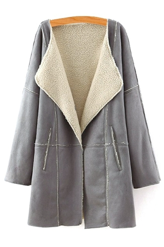 coat fleece fall outfits winter outfits grey warm casual cozy jacket fur long sleeves shearling jacket