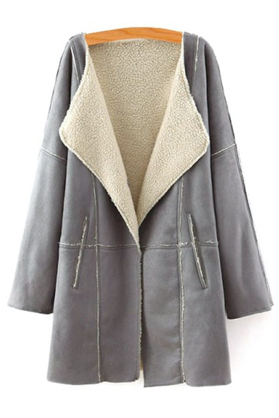 Coat: fleece, fall outfits, winter outfits, grey, warm, casual ...