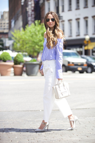 something navy blogger shoes sunglasses white pants off the shoulder white bag celine stripes button up white shoes aviator sunglasses blue off shoulder top long sleeves off the shoulder top celine bag rayban pumps white pumps high heel pumps pointed toe pumps spring outfits