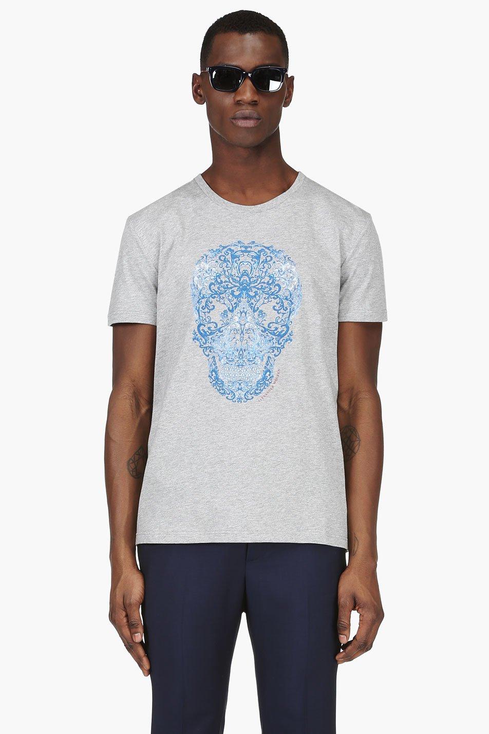 alexander mcqueen heathered grey floral skull t_shirt