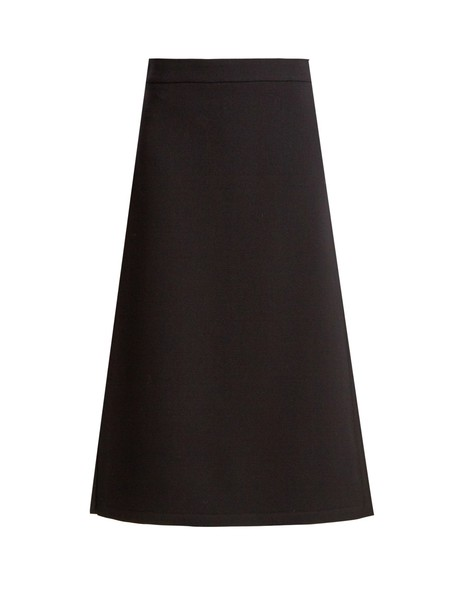 RAEY Split-side wool-blend twill A-line midi skirt in navy