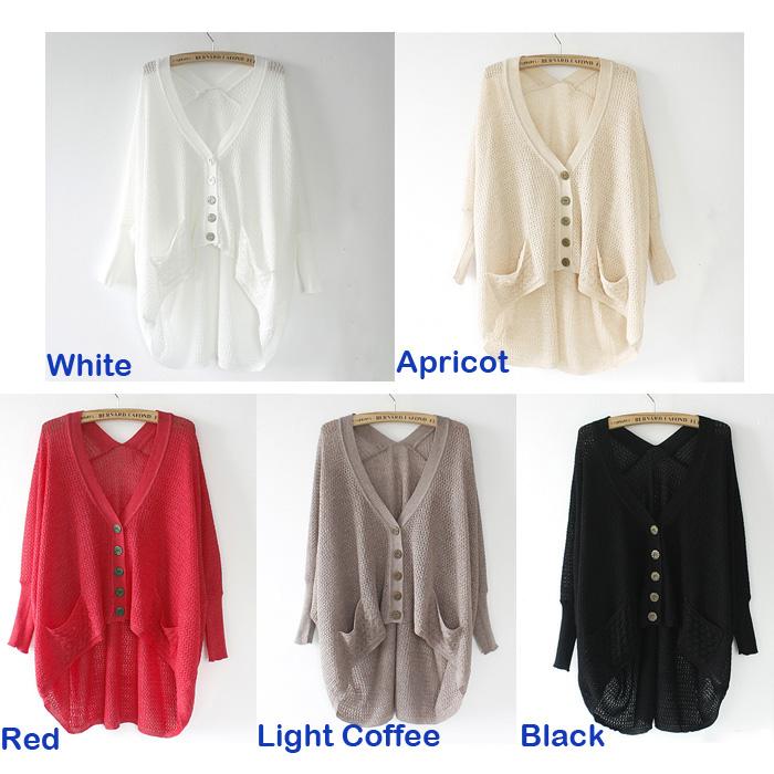 New Womens Ladies Loose Hollow Asym V Neck Batwing Knitted Sweater Cardigan Tops | eBay