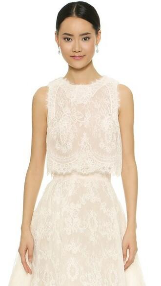 top nude white silk
