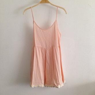 dress pink dress peach dress girly boho dress daisy dress daisy boho pink peach indie