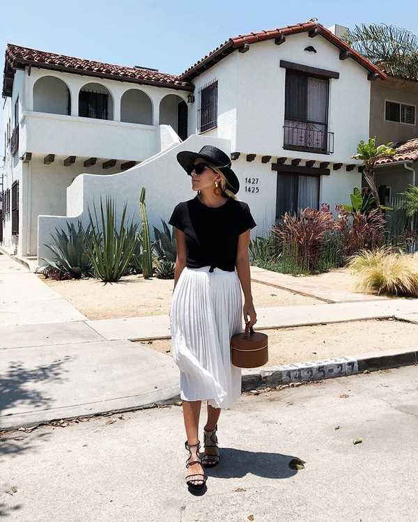 skirt white skirt top black top hat black hat shoes