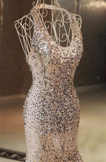 Starburst Silver Halter Glitter Sequins Mermaid Gowns